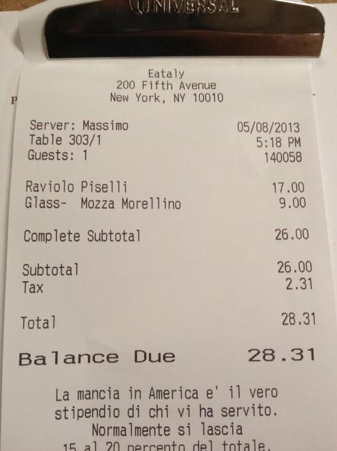 Somando a gorjeta, a refeição ficou por US$ 32!