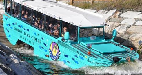 O Duck Tour entrando no Charles River: Google imagens