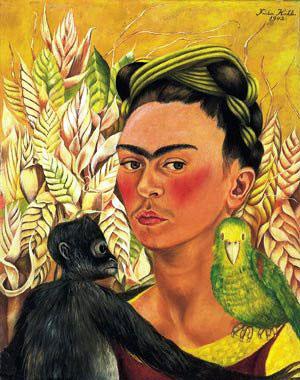 Autoretrato com macaco e papagaio, 1942