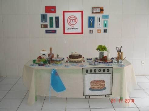Mesa do bolo e painel